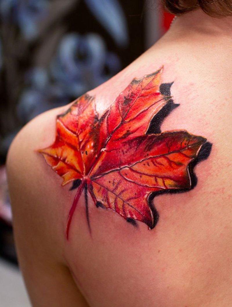 Leaf 3D Tattoo-15 Fantastic Three Dimensional Tattoos That Will Blow Your Mind