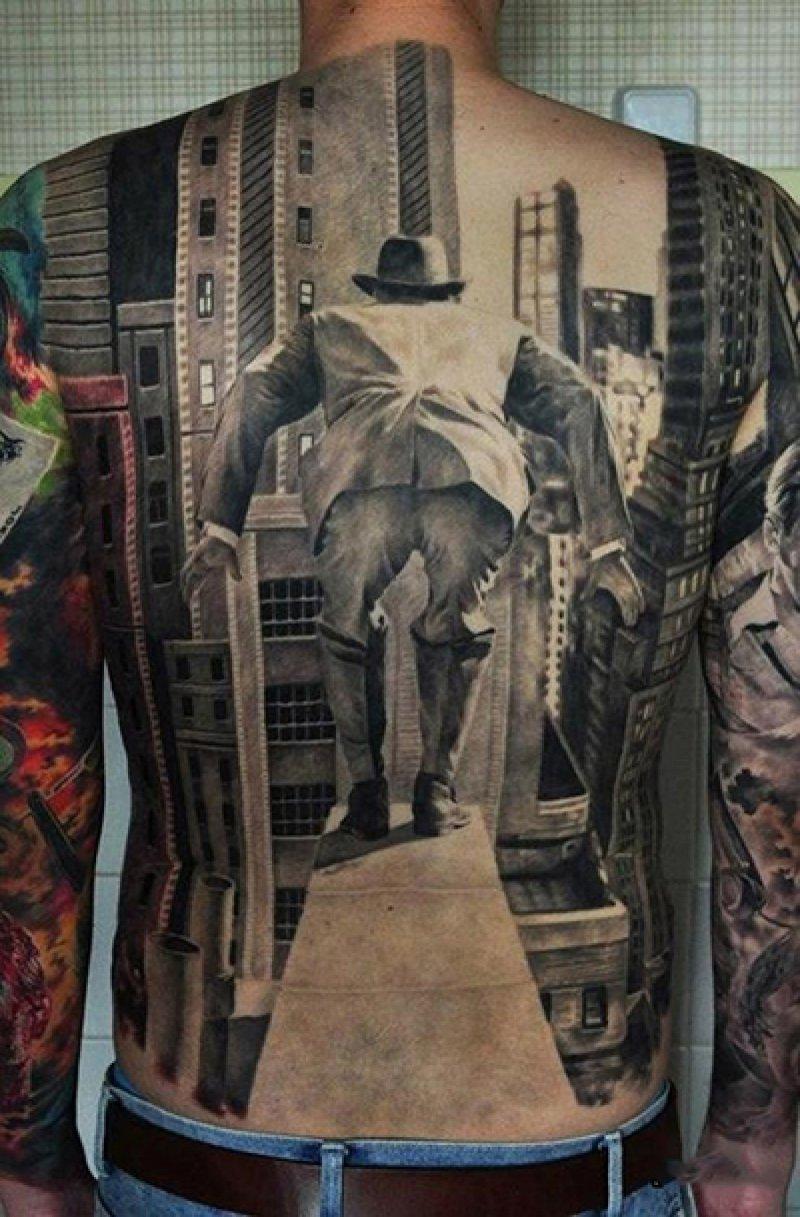 Ledge Man 3D Tattoo-15 Fantastic Three Dimensional Tattoos That Will Blow Your Mind