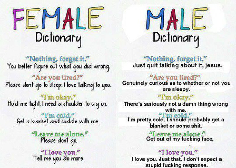 Male Vs. Female Dictionary -15 Hilarious Differences Between Men And Women