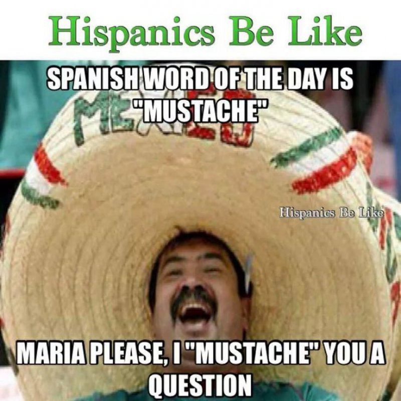 Mexican Word Of The Day: Mustache-12 Funny Mexican Word Of The Day Memes