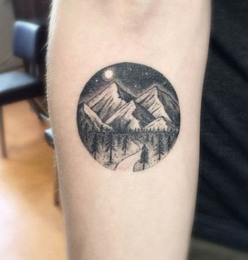 Moon, Stars, Trees, Night Sky, And Mountains-12 Impressive And Inspiring Mountain Tattoos
