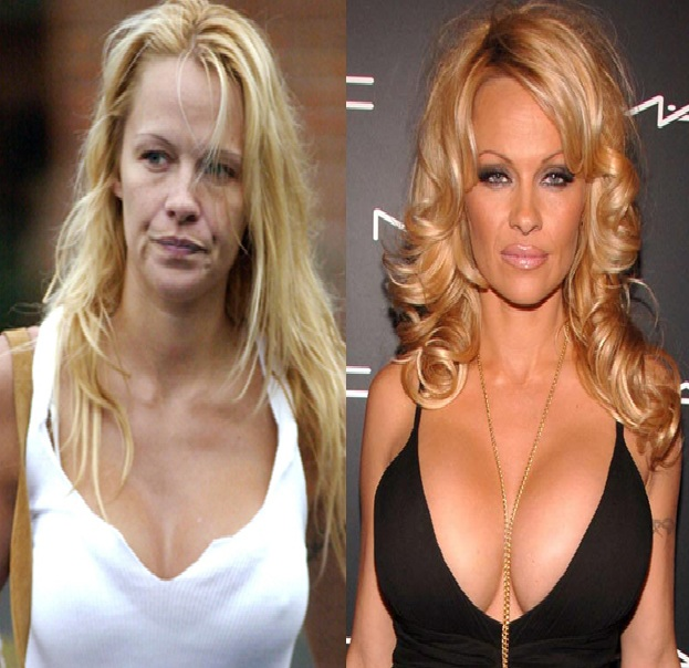 Pamela Anderson-15 Celebrities With And Without Makeup