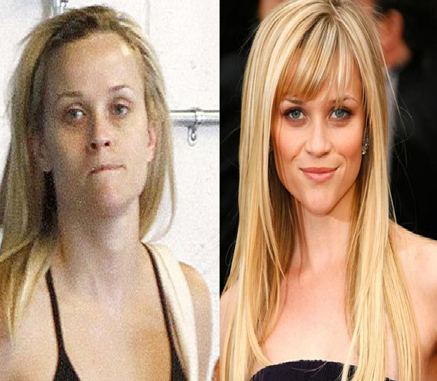 Reese Witherspoon-15 Celebrities With And Without Makeup