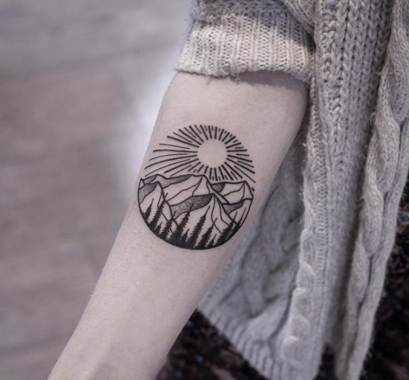 Sun And Mountains This Time-12 Impressive And Inspiring Mountain Tattoos