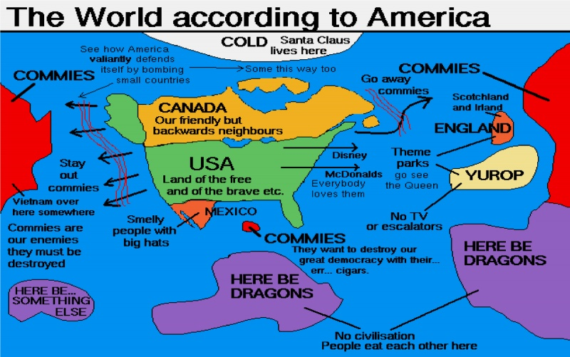 The World According To America-12 Funny Maps You Won't See In School