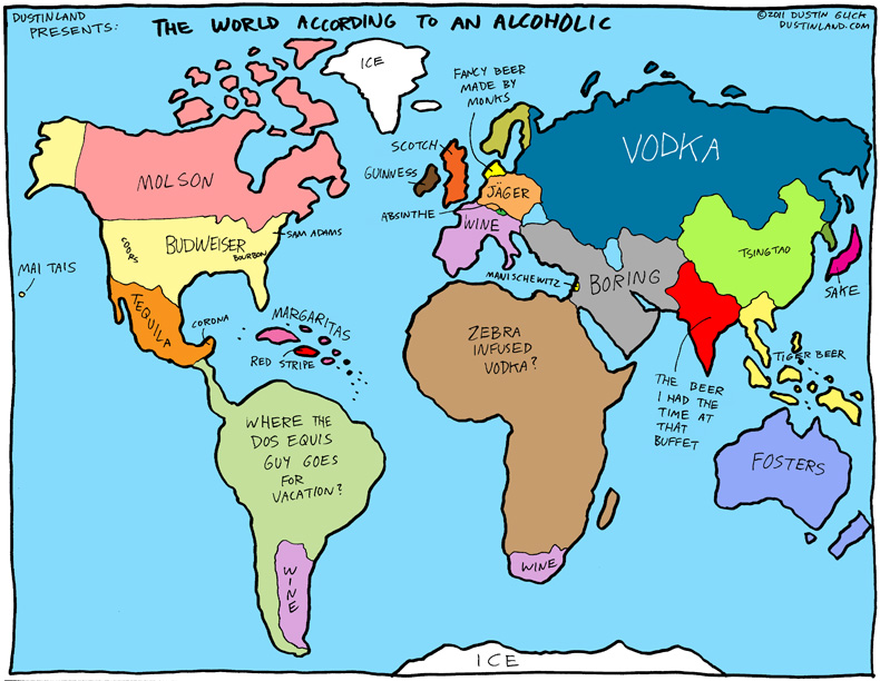The World According To An Alcoholic-12 Funny Maps You Won't See In School