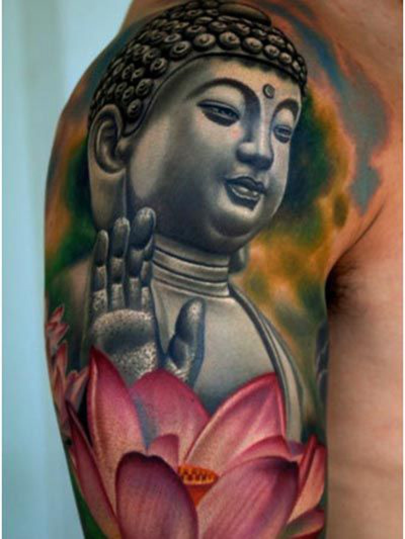This 3D Buddha Tattoo-12 Amazing Buddha Tattoos That Will Make You Say I Want One