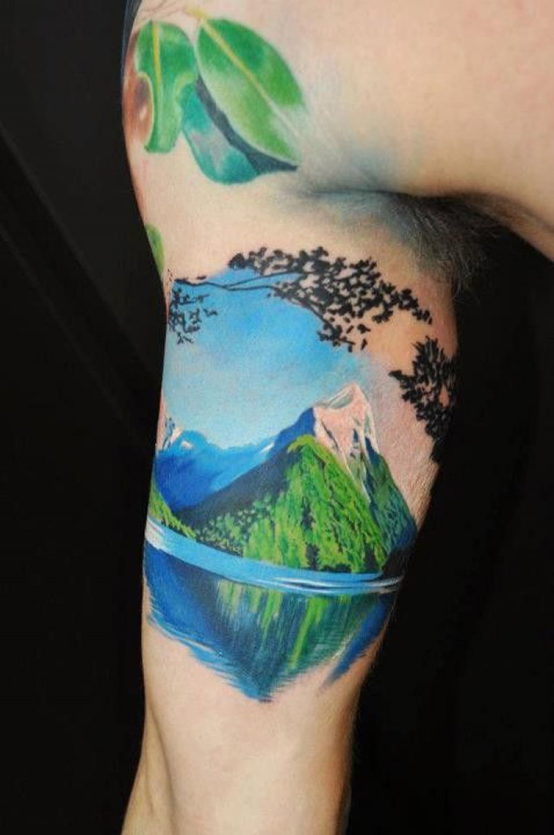 This Color Mountain Tattoo-12 Impressive And Inspiring Mountain Tattoos