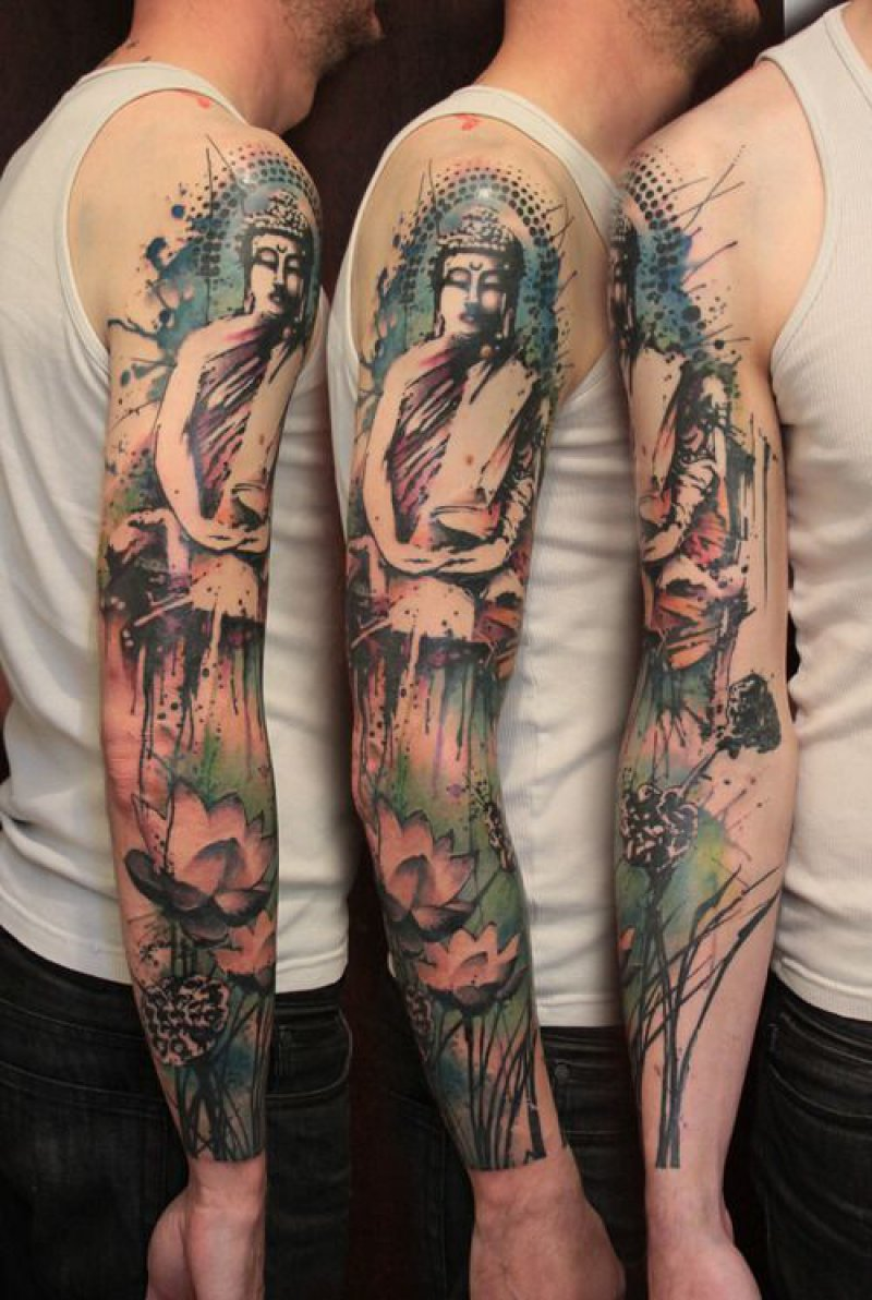 This Full Arm Buddha Tattoo-12 Amazing Buddha Tattoos That Will Make You Say I Want One