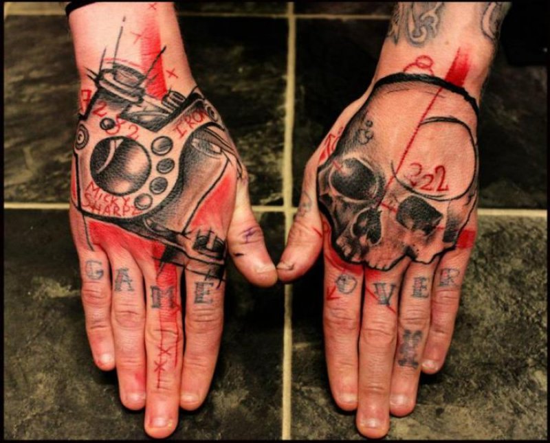 This Impressive Trash Polka Hand Tattoo-12 Trash Polka Tattoos You Need To See If You Are Planning To Get One