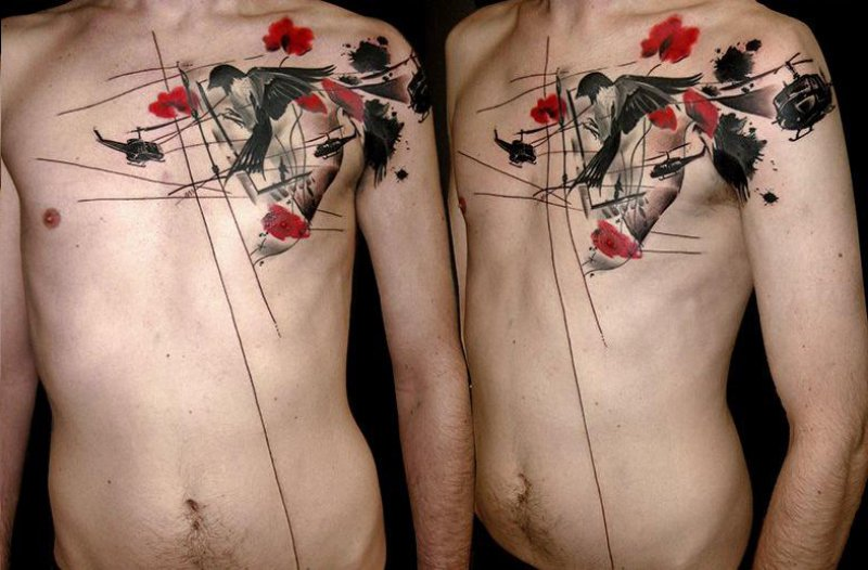 This Trash Polka Tattoo On Chest-12 Trash Polka Tattoos You Need To See If You Are Planning To Get One