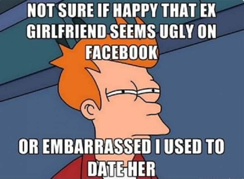 "Ugly Ex-Girlfriend On Facebook Meme-15 Funniest ""Not Sure If"" Futurama Fry Memes"