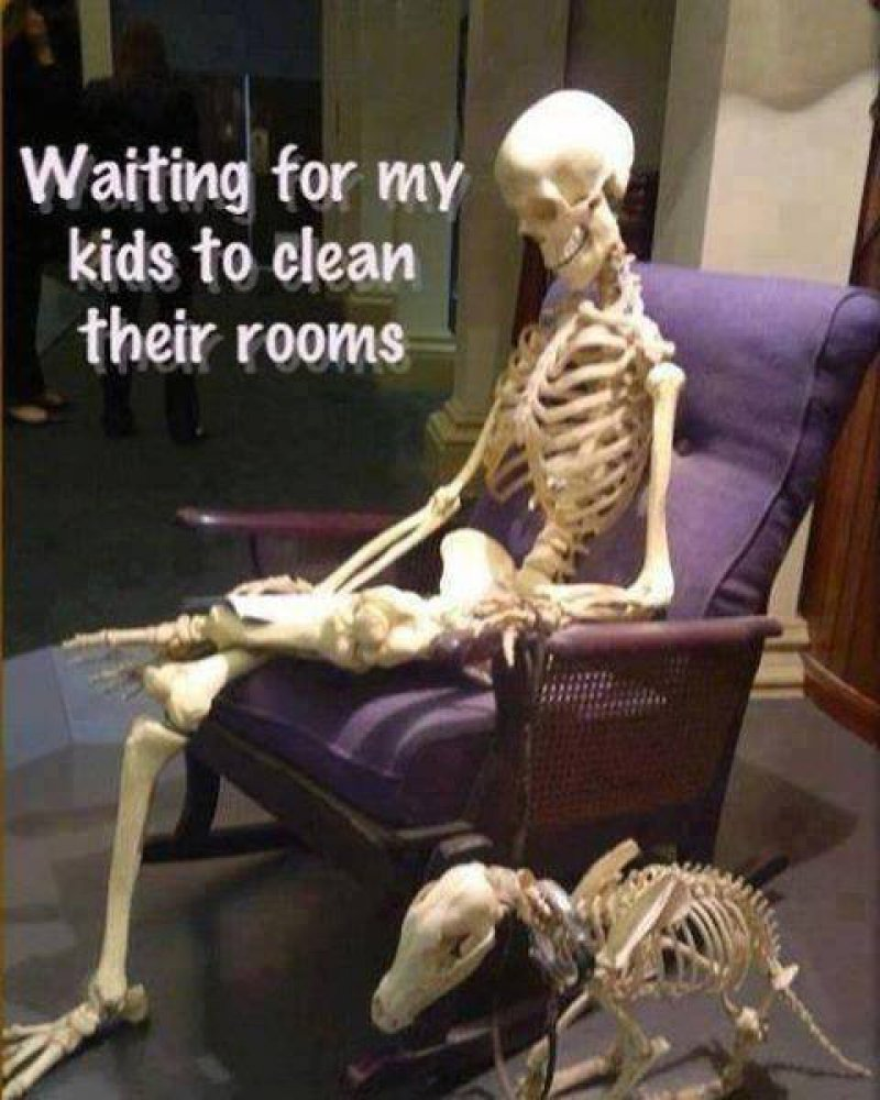 Waiting For My Kids To Clean Room!-12 Funny Waiting Skeleton Memes