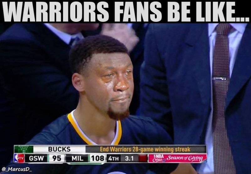 When Bucks Ended Warriors Winning Streak At 28-12 Funny NBA Memes That Will Make Your Day