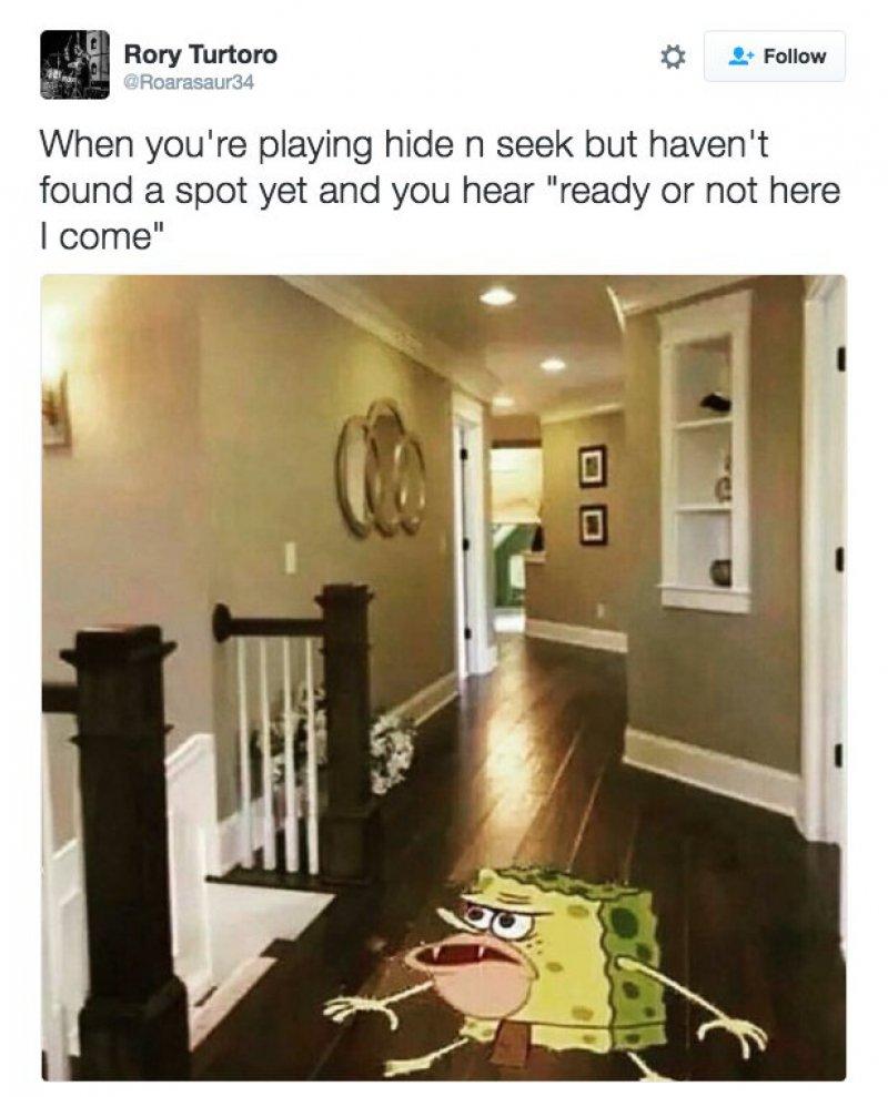 When You Are Playing Hide-and-Seek-12 Funny Caveman SpongeBob/ Spongegar Memes