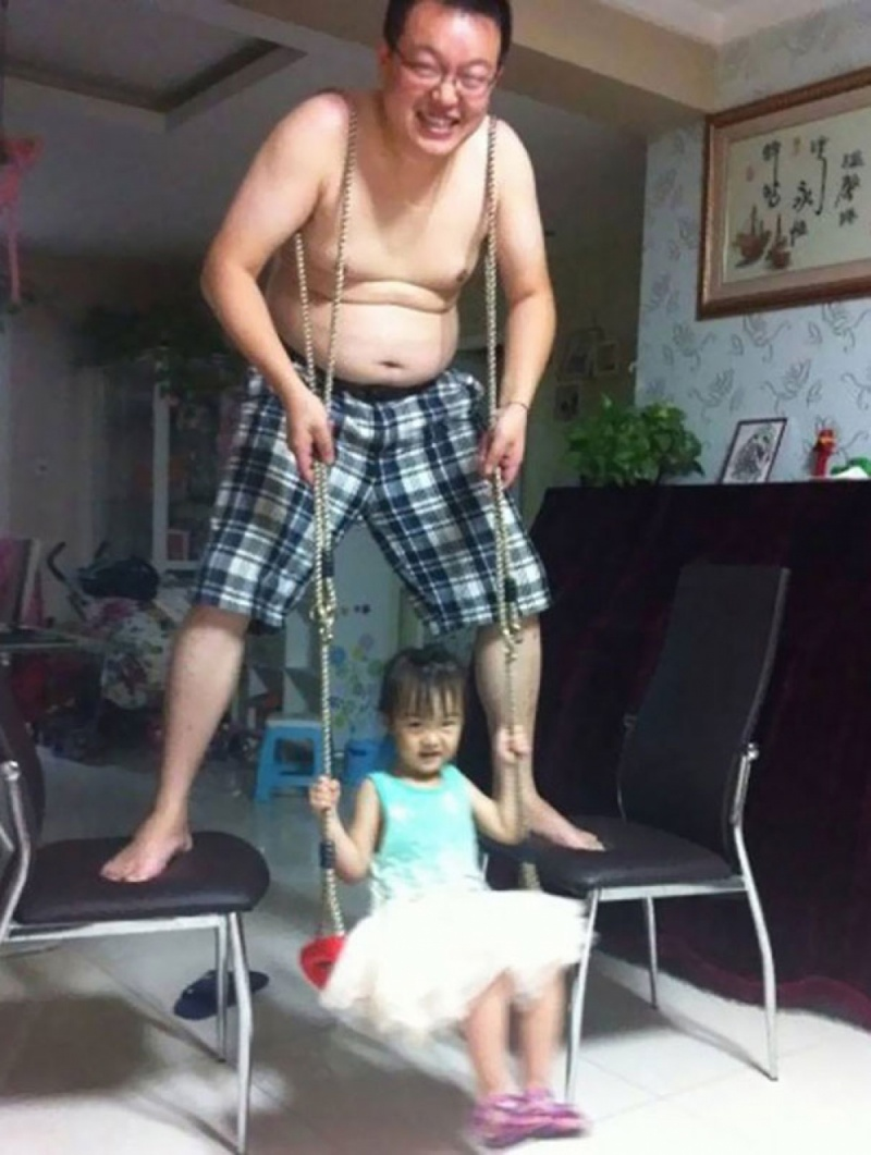 This Dad Who Became a Swing for His Daughter-15 Images That Show What Parenting Is Really Like