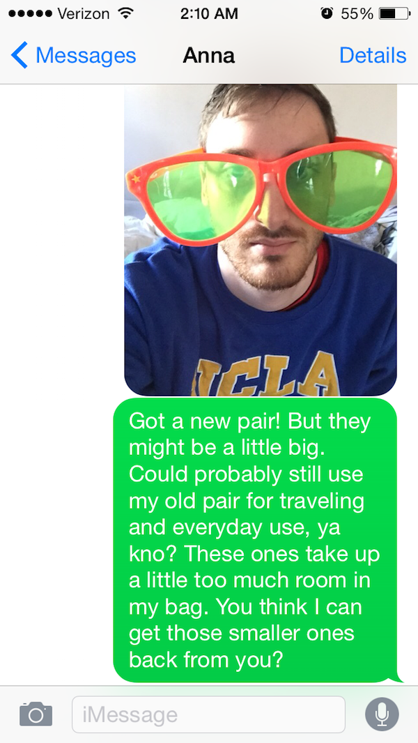He Got Another Pair of Sunglasses-Guy Whose Sunglasses Got Stolen After A One Nightstand Texts The Girl For A Year.