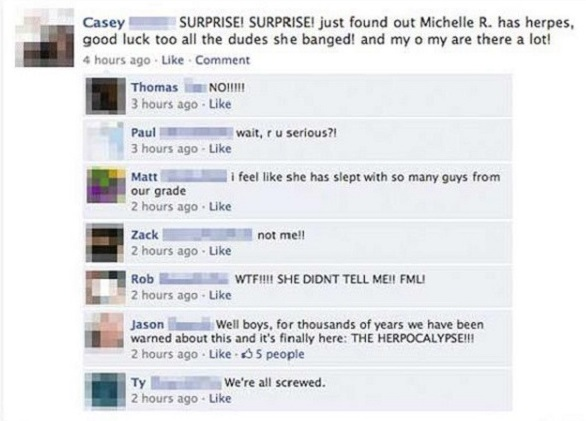 Herpes-12 Most Embarrassing Yet Hilarious Facebook Posts You'll Ever Read