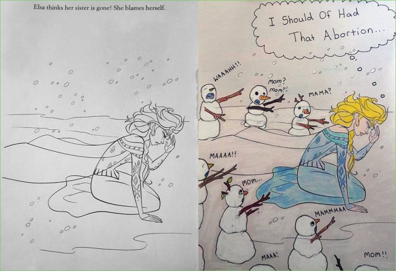 Elsa and Her Problems! -15 Drawings That Show Dads Should Stay Away From Children's Coloring Books