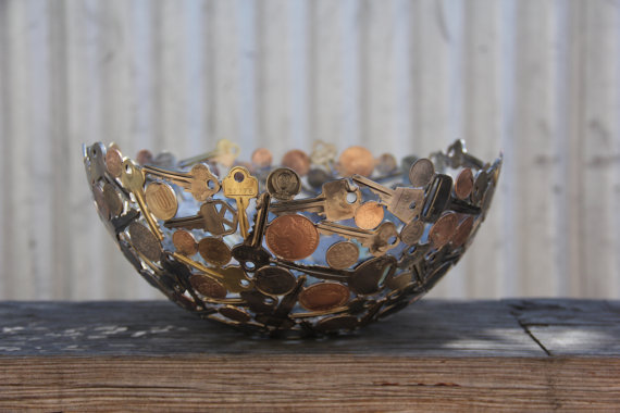 Bowl Made out of Coins and Keys-15 Beautiful Items That Are Carved Out Of Scrap