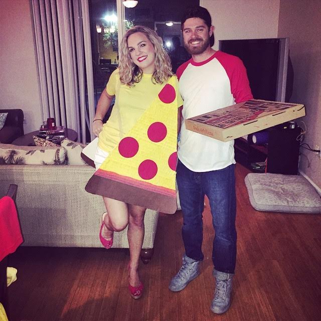 Pizza Delivery Boy and Pizza Costume-Fifteen Halloween Couple Costumes That Are Super Amazing