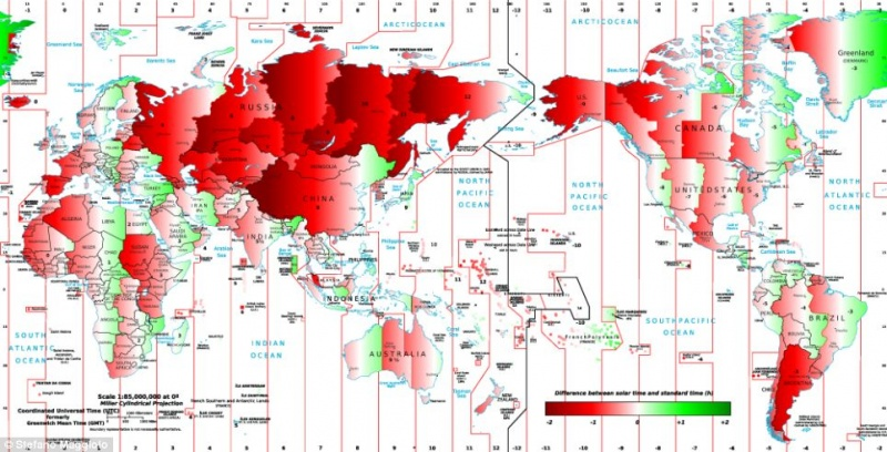 Map that Shows Difference Between Solar Time and Standard Time-15 Maps That Will Change The Way You See The World