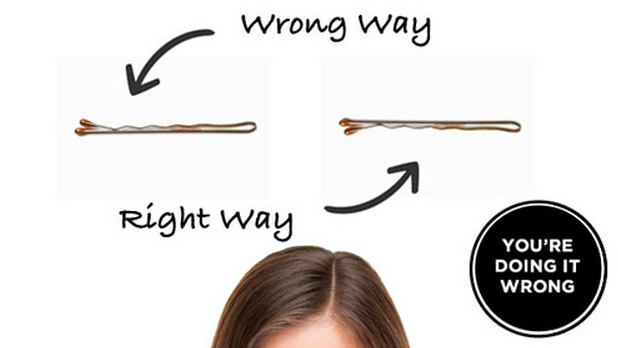 Wavy Side of Bobby Pin Should Go Inside-15 Things You've Been Doing Wrong Your Entire Life