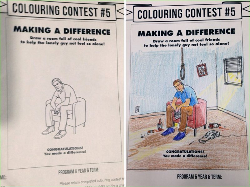 He Made the Difference! -15 Drawings That Show Dads Should Stay Away From Children's Coloring Books