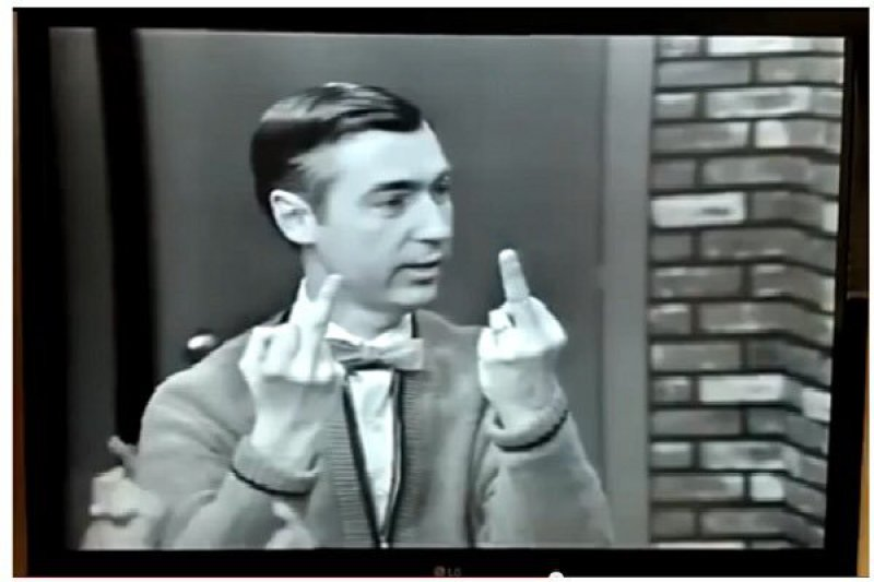 Mr. Rogers Flipping The Bird-15 Images That Will Ruin Your Childhood Forever