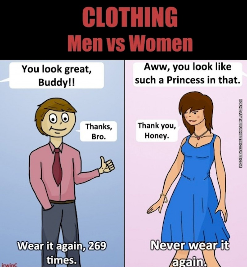 Dressing sense-15 Hilarious Differences Between Men And Women