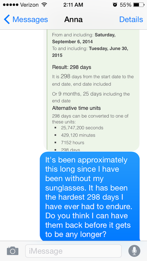 He Spent 25,747,200 Seconds Without His Sunglasses-Guy Whose Sunglasses Got Stolen After A One Nightstand Texts The Girl For A Year.