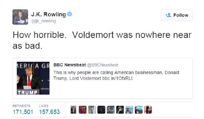 J K Rowling's clarification-15 Hilarious Tweets About Donald Trump Sure To Make You Laugh