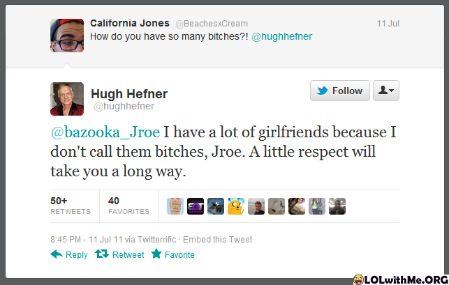 Hugh Hefner vs. Random Fan-15 Hilarious Twitter Comebacks Ever