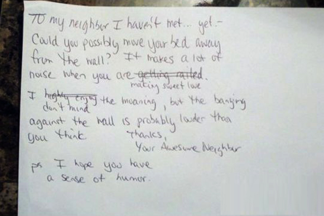 A Note to a New Neighbor-15 Funniest Notes Ever Left For Neighbors Having Sex Very Loud