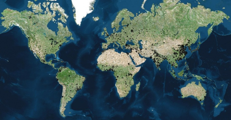 World Map Showing Cities with More than 100,000 Population-15 Maps That Will Change The Way You See The World