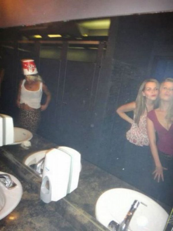 This Buckethead in a Ladies Toilet-15 Strangest Moments Ever Caught In Restrooms