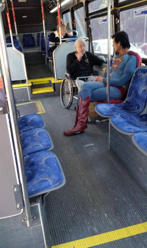Superman Caught Travelling in Tramcar-15 Most Awkward Public Transport Pictures