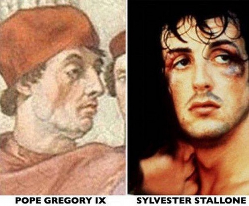 Sylvester Stallone and Pope Gregory IX-15 Celebrities Who Look Like People From Past