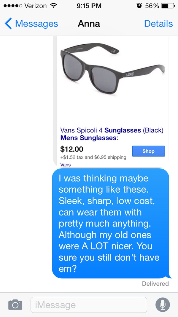 This is Hilarious-Guy Whose Sunglasses Got Stolen After A One Nightstand Texts The Girl For A Year.