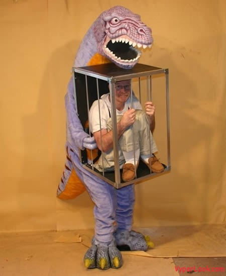 Dino/man in cage costume-Creepiest Halloween Costumes