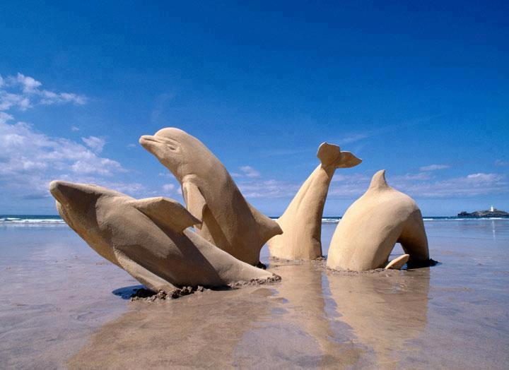 Dolphin Sand Sculpture-15 Most Bizarre Sand Art Sculptures Ever Created