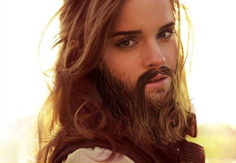 Emma Watson-24 Hilarious Female Celebrities With Beard Photos
