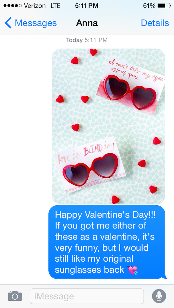 On Valentines Day-Guy Whose Sunglasses Got Stolen After A One Nightstand Texts The Girl For A Year.