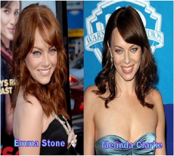 Melinda Clarke & Emma Stone-15 Surprising Celebrity Lookalikes That You Haven't Noticed