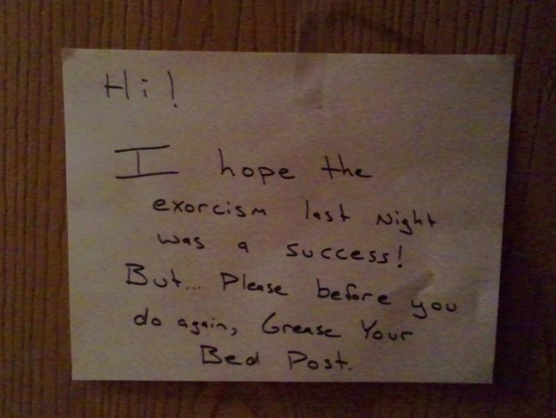 This Person with Good Sense of Humor-15 Funniest Notes Ever Left For Neighbors Having Sex Very Loud