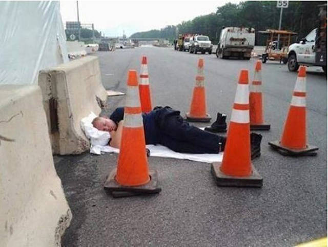 Taking a Quick Nap on Road-15 People Who Were Caught Taking A Quick Nap At Work