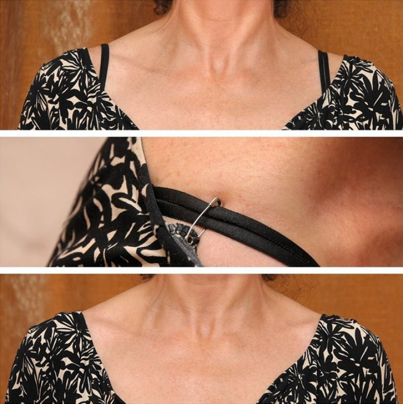 A Safety Pin Solves the Wide-neck Dress Problems-12 Bra Hacks You Probably Don't Know