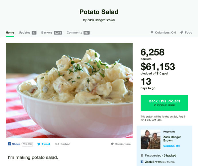 Just A Potato Salad.-7 Bizarre Kickstarter Campaigns You Could Fund