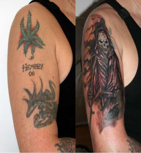 Marijuana best tattoo cover ups for Best tattoo concealer