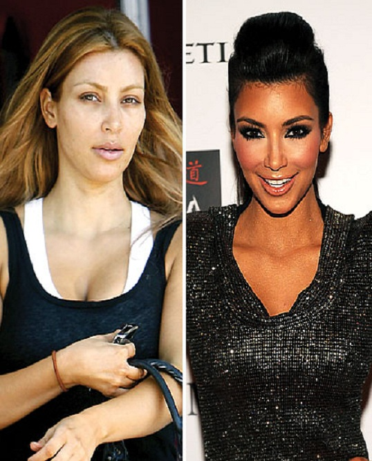 Kim Kardashian-15 Celebrities With And Without Makeup